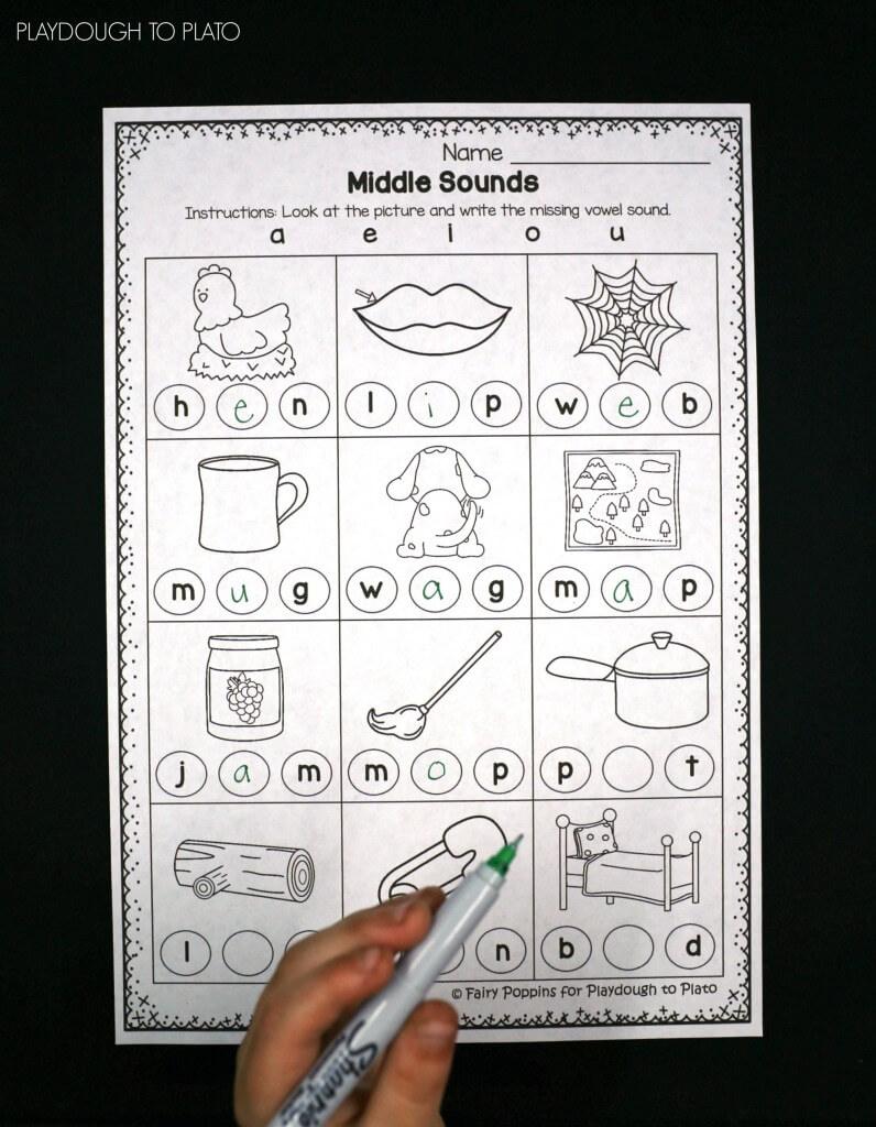 Free Middle Sound Worksheets!