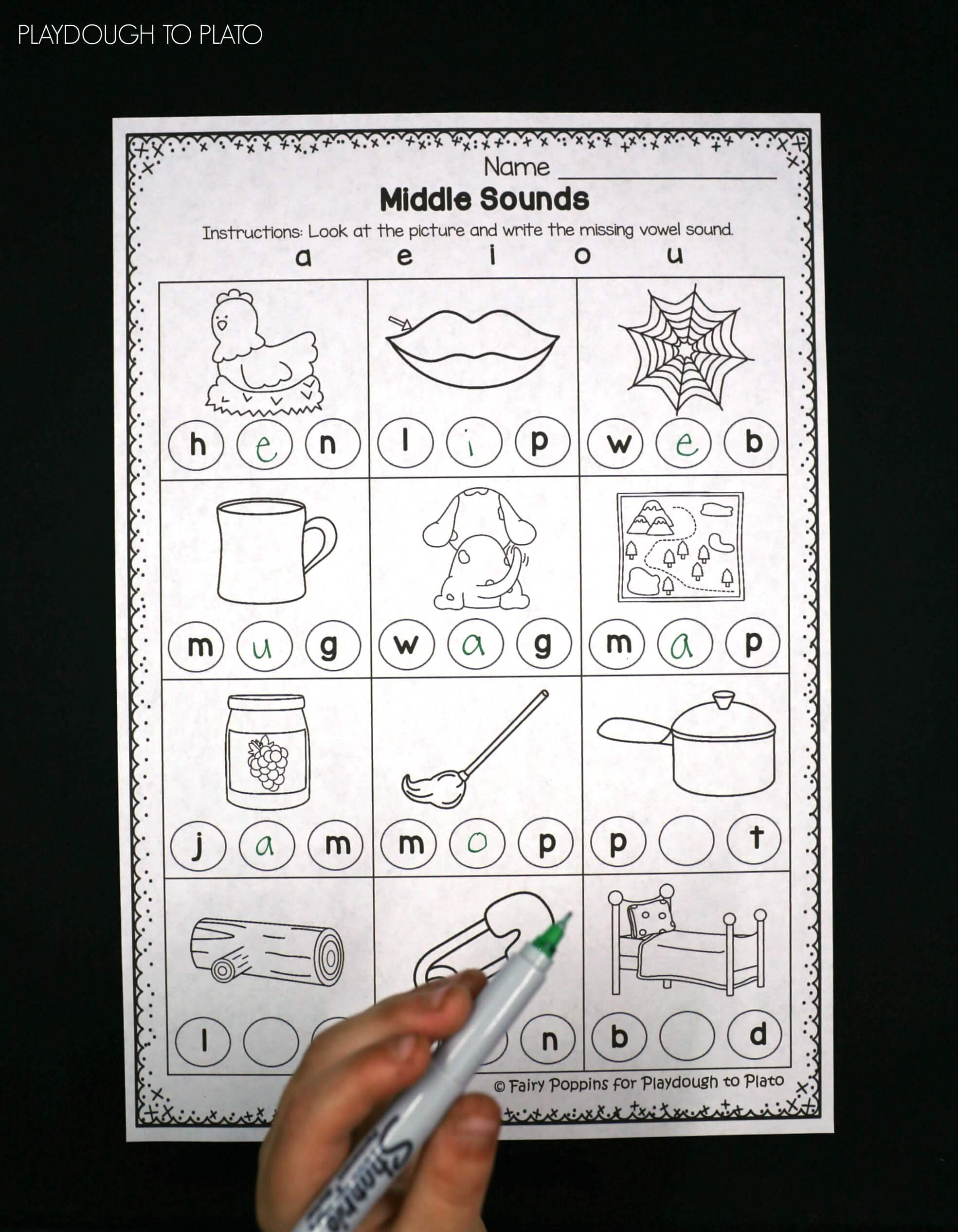 Free Middle Sound Worksheets! & Middle Sounds Worksheets - Playdough To Plato