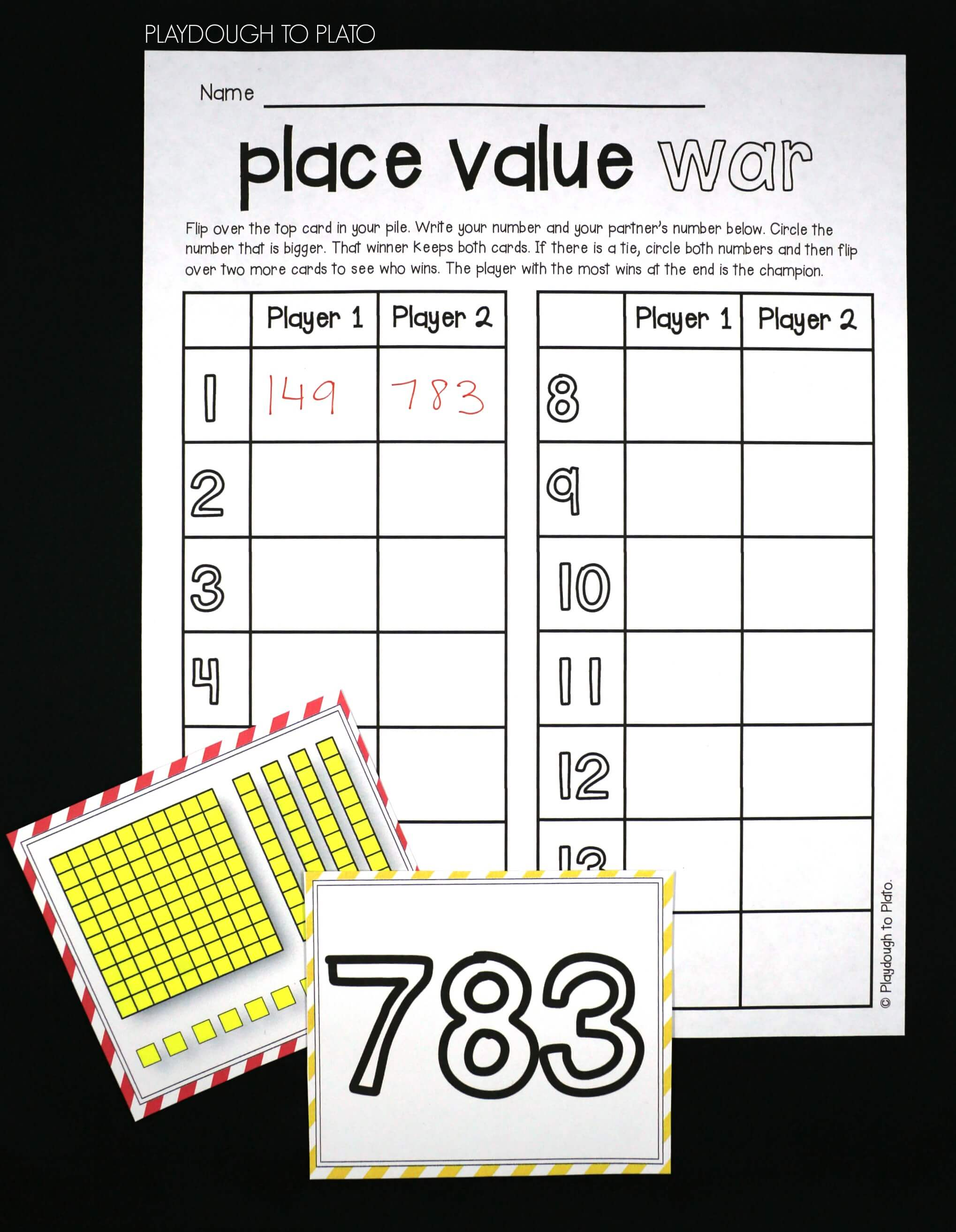 Place value war playdough to plato fun place value game for kids nvjuhfo Image collections