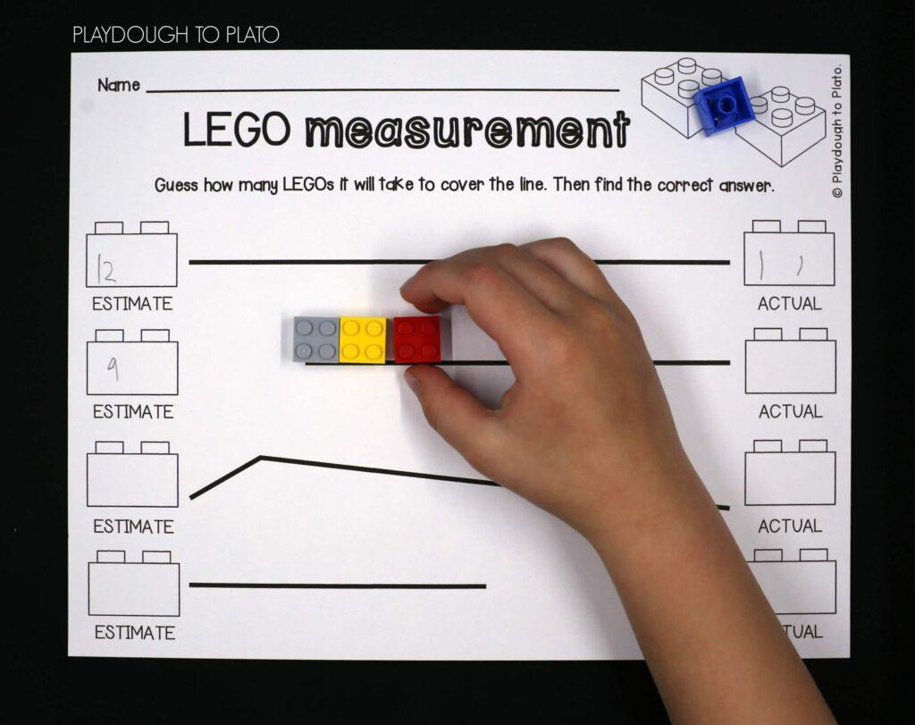 LEGO measuring! Fun measurement activity.