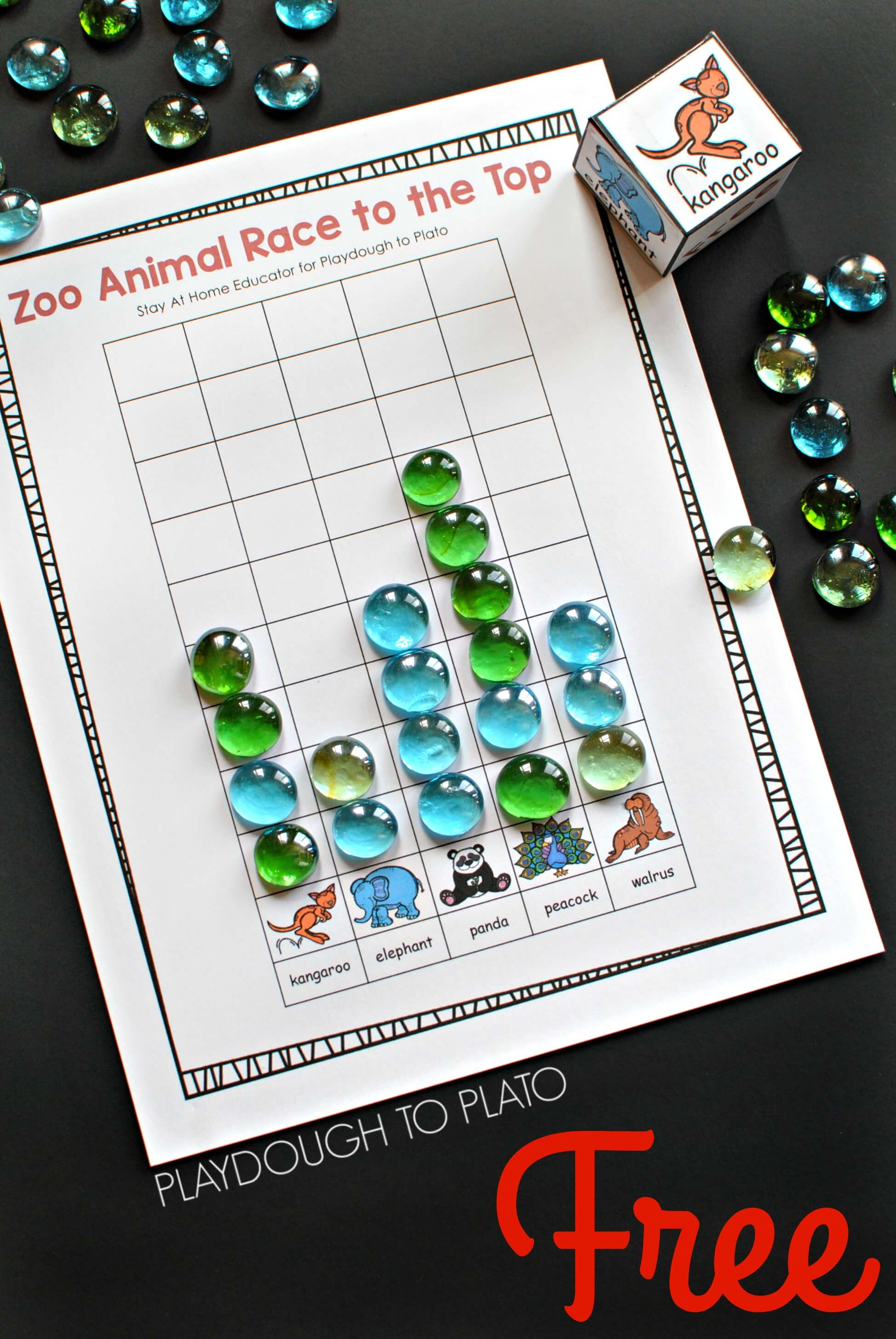 Zoo Animal Game - Race to the Top Counting