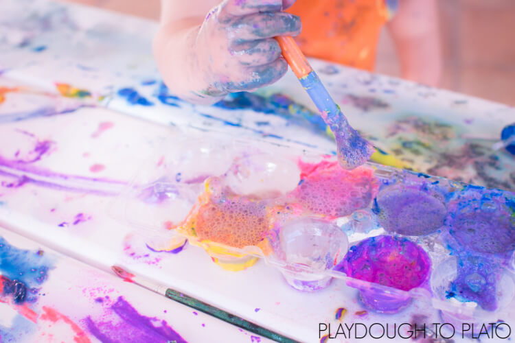 Did you know you can make your own paint? You can - and you should! Find out how to make super simple fizzy flour paint with 3 ingredients you have on hand right now! You can make it taste safe for babies and toddlers, but it's also great fun for preschoolers and kindergarteners!