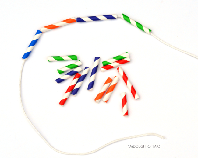 This paper straw necklace craft is a fun activity for kids that works on threading, cutting, and hand eye coordination.