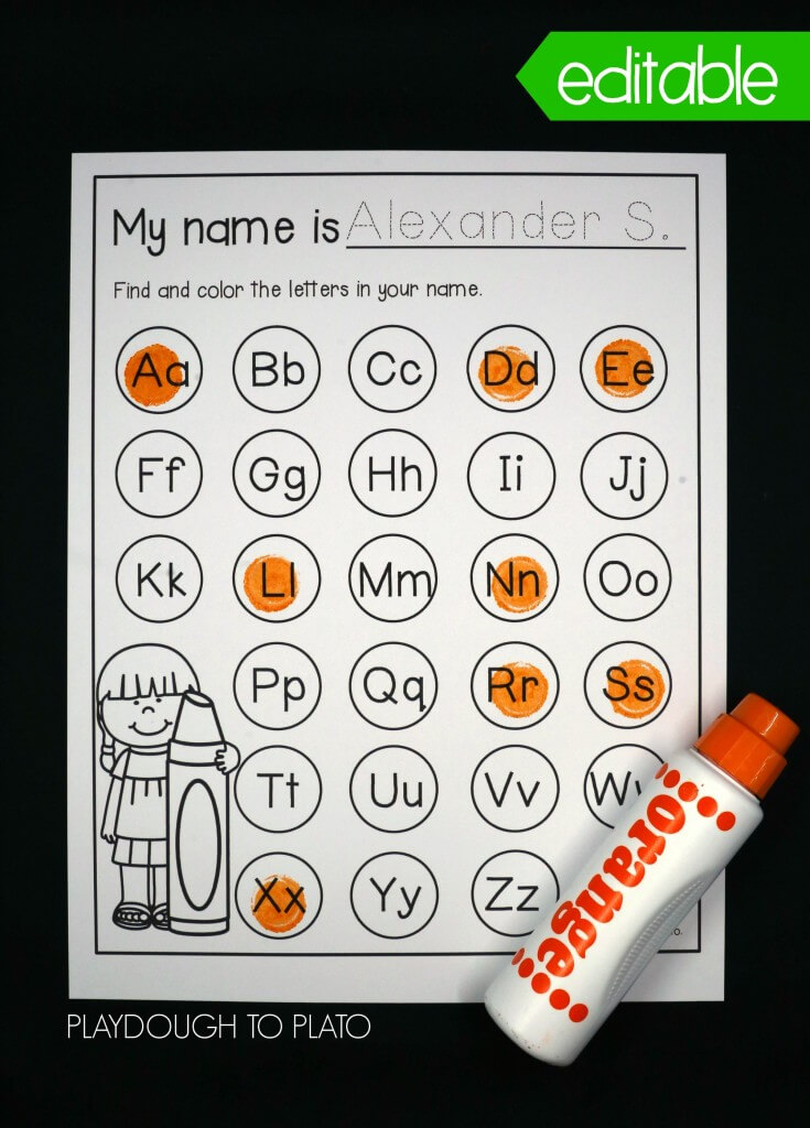 Editable letters in your name dot sheet!