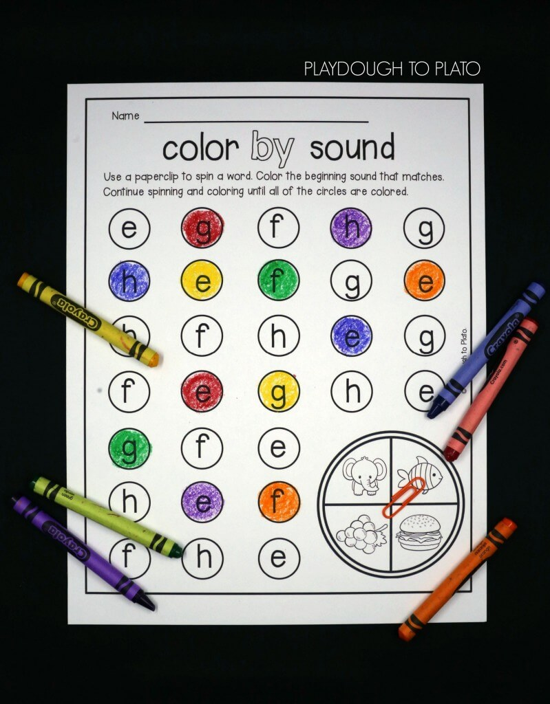 Spin a word and color the beginning sound that matches.
