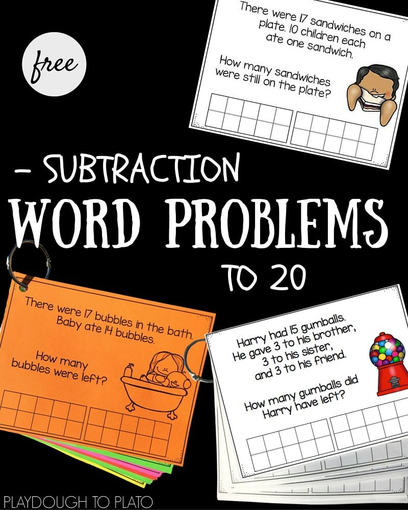worksheet Subtraction Word Problems subtraction word problems to 20 playdough plato 20
