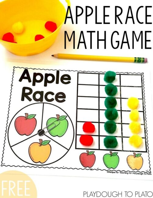 online math games for preschoolers apple race math playdough to plato 378