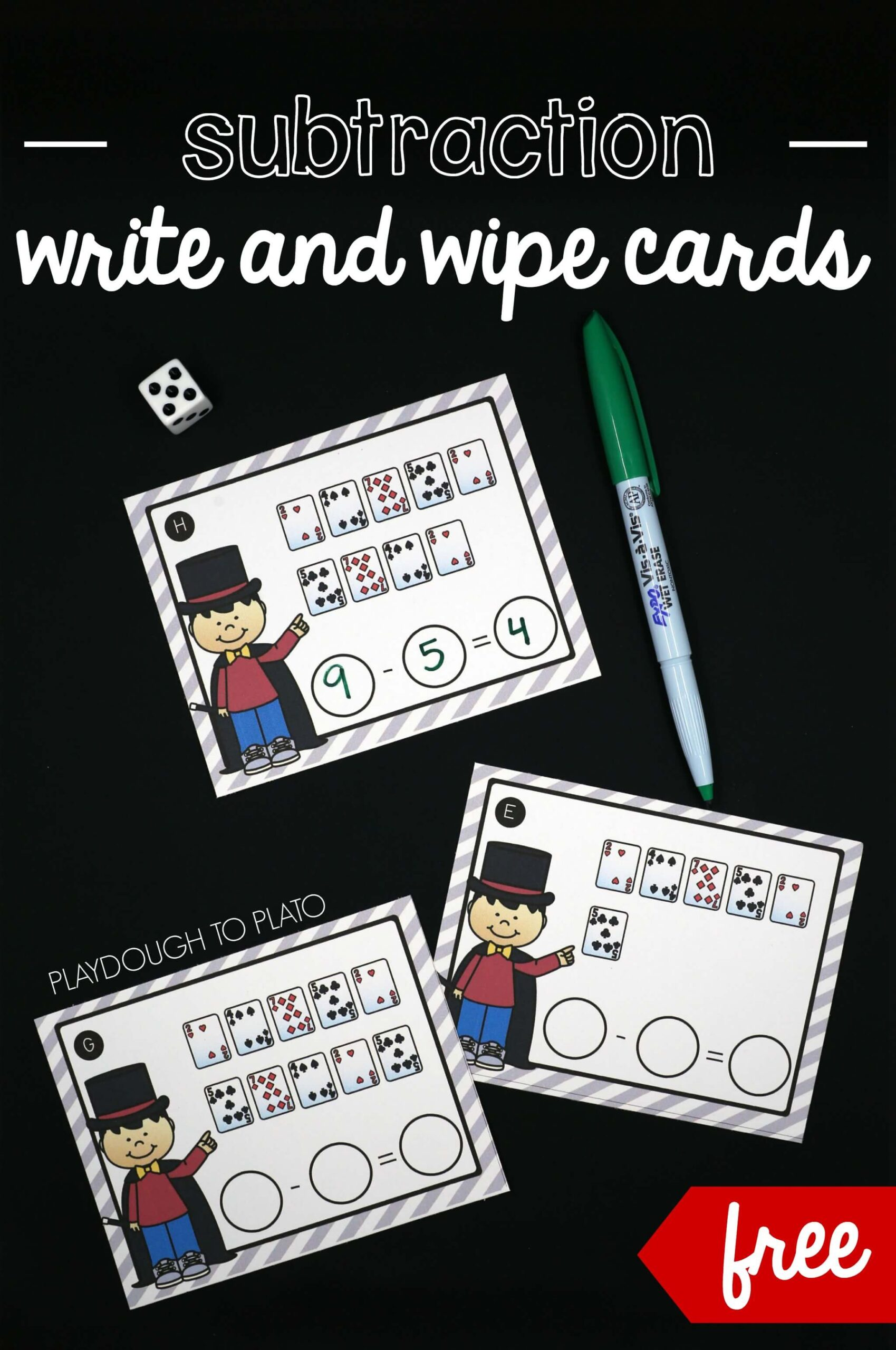 Write and Wipe Subtraction Cards