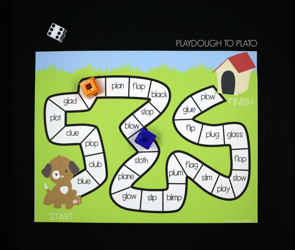 Read and write L blends with a playful puppy.