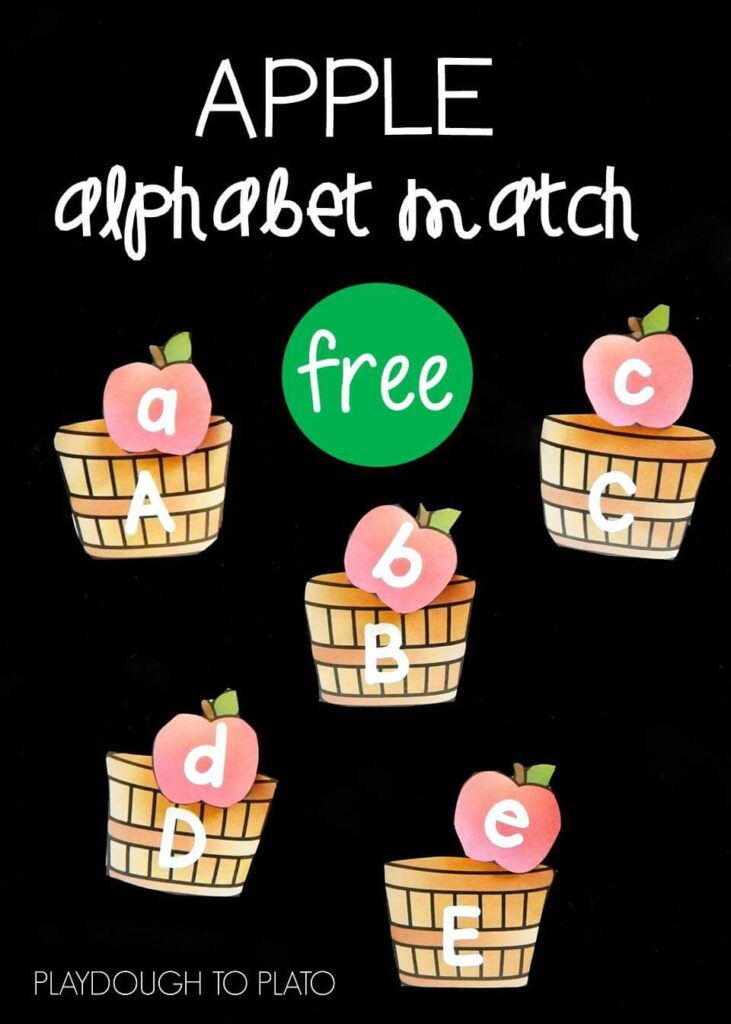 apple alphabet match pin