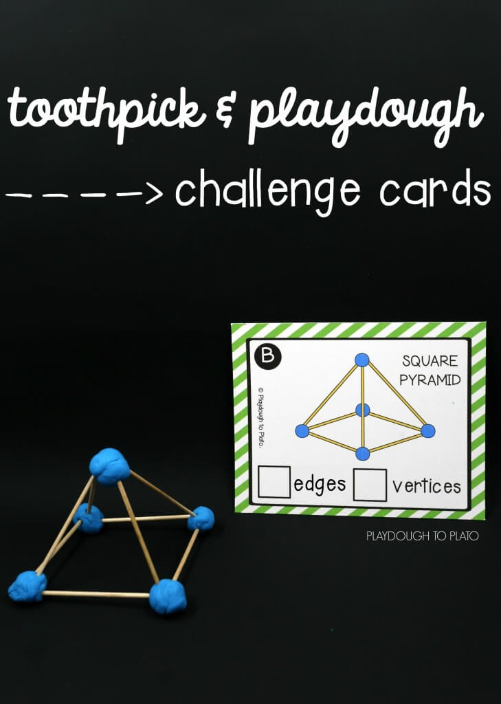 2D and 3D toothpick and playdough challenge cards