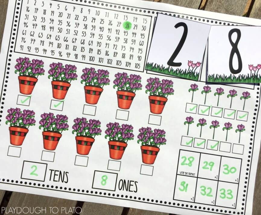 These flowers and pot plants are a great visual for reinforcing place value in numbers up to 100. Free!!