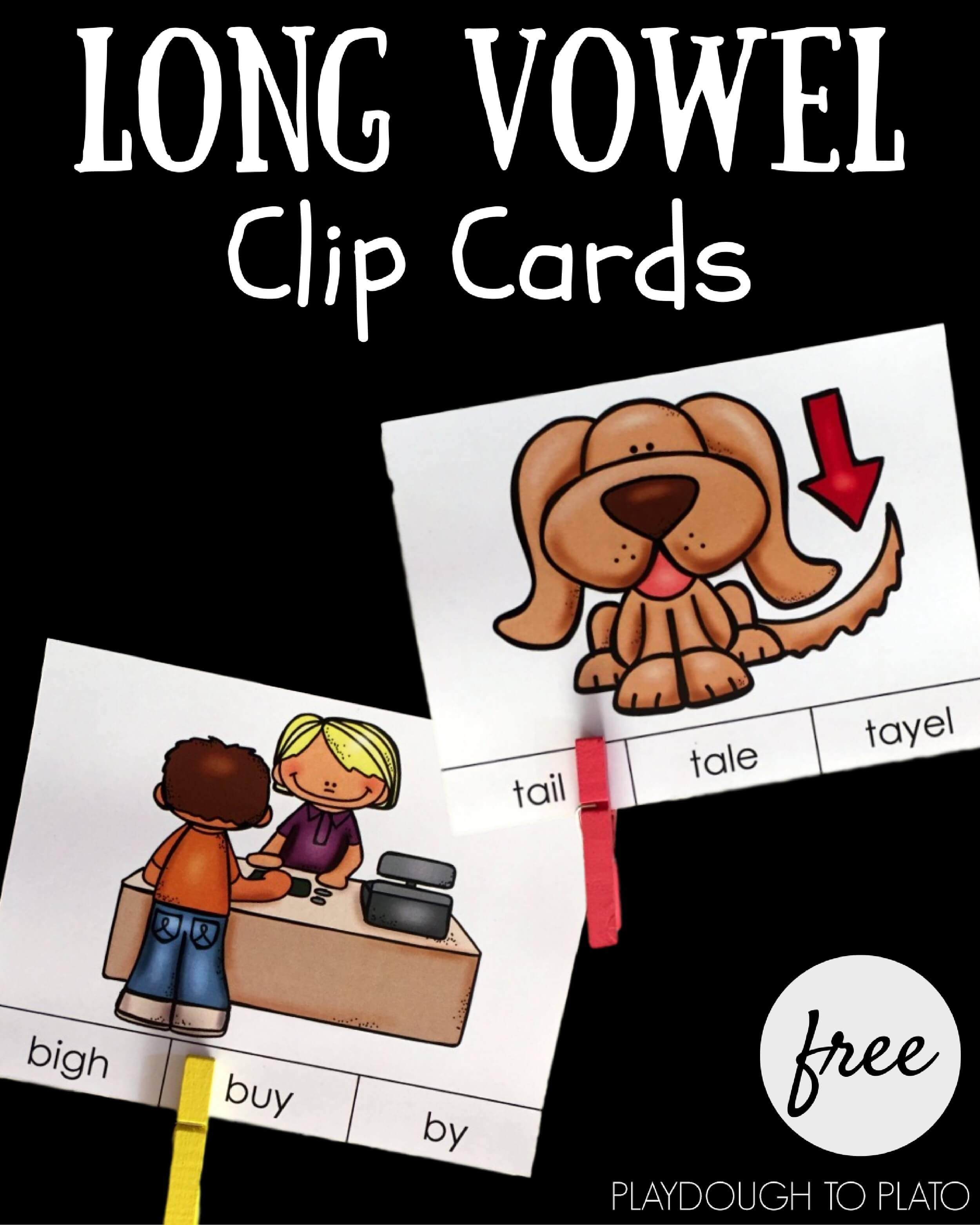 Practice reading long vowel words with these free long vowel clip cards!