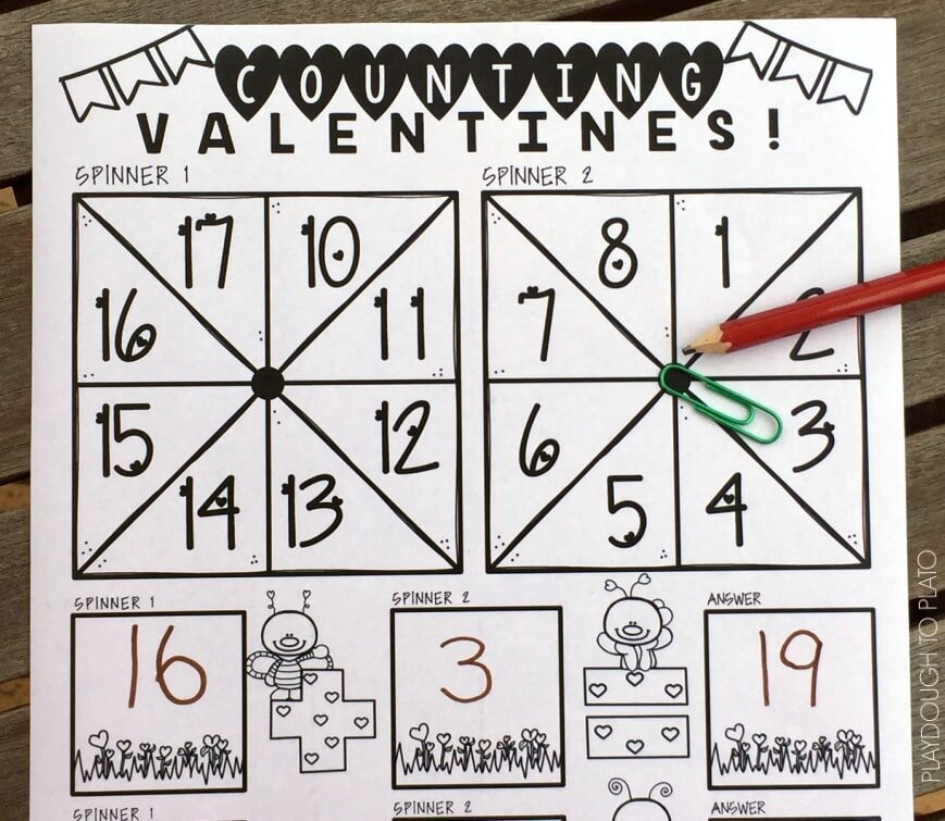 Practice valentines addition with these free math mats!