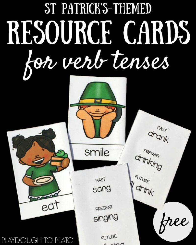 Here are 20 free verb tense resource cards for your St Patrick's Day writing activities. They come in color and black and white!