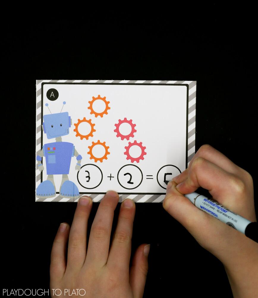 Robot Addition Cards - Playdough To Plato