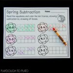 Spring Ten Frame Subtraction