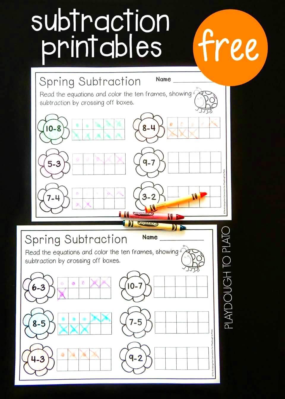 Spring Ten Frame Subtraction - Playdough To Plato