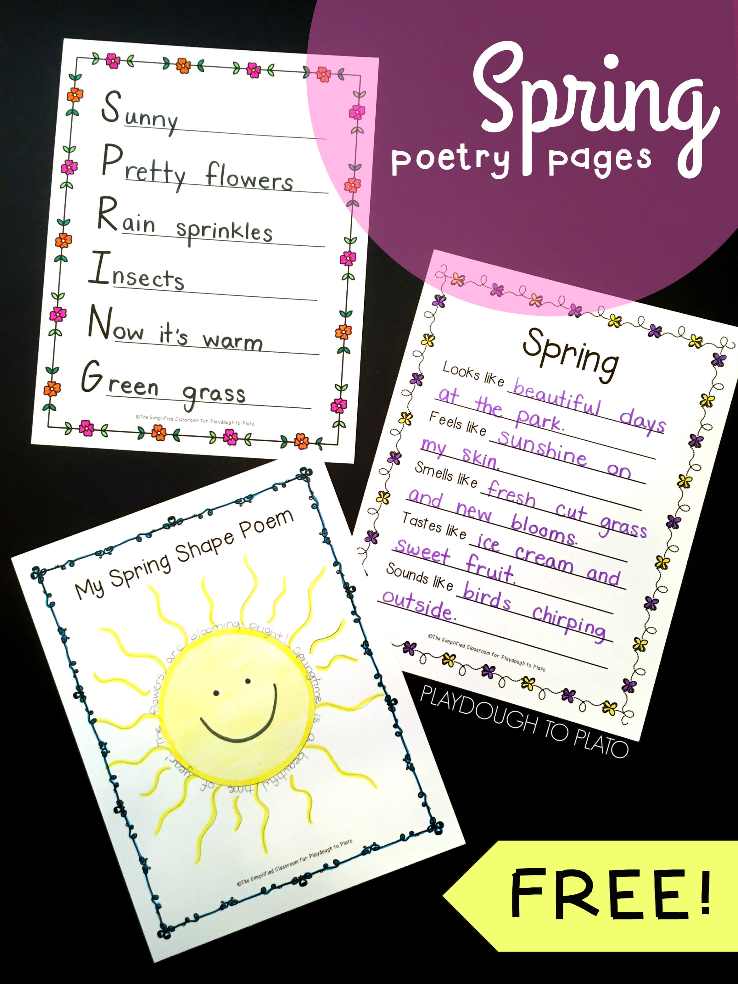 Spring Poetry Pages Playdough To Plato