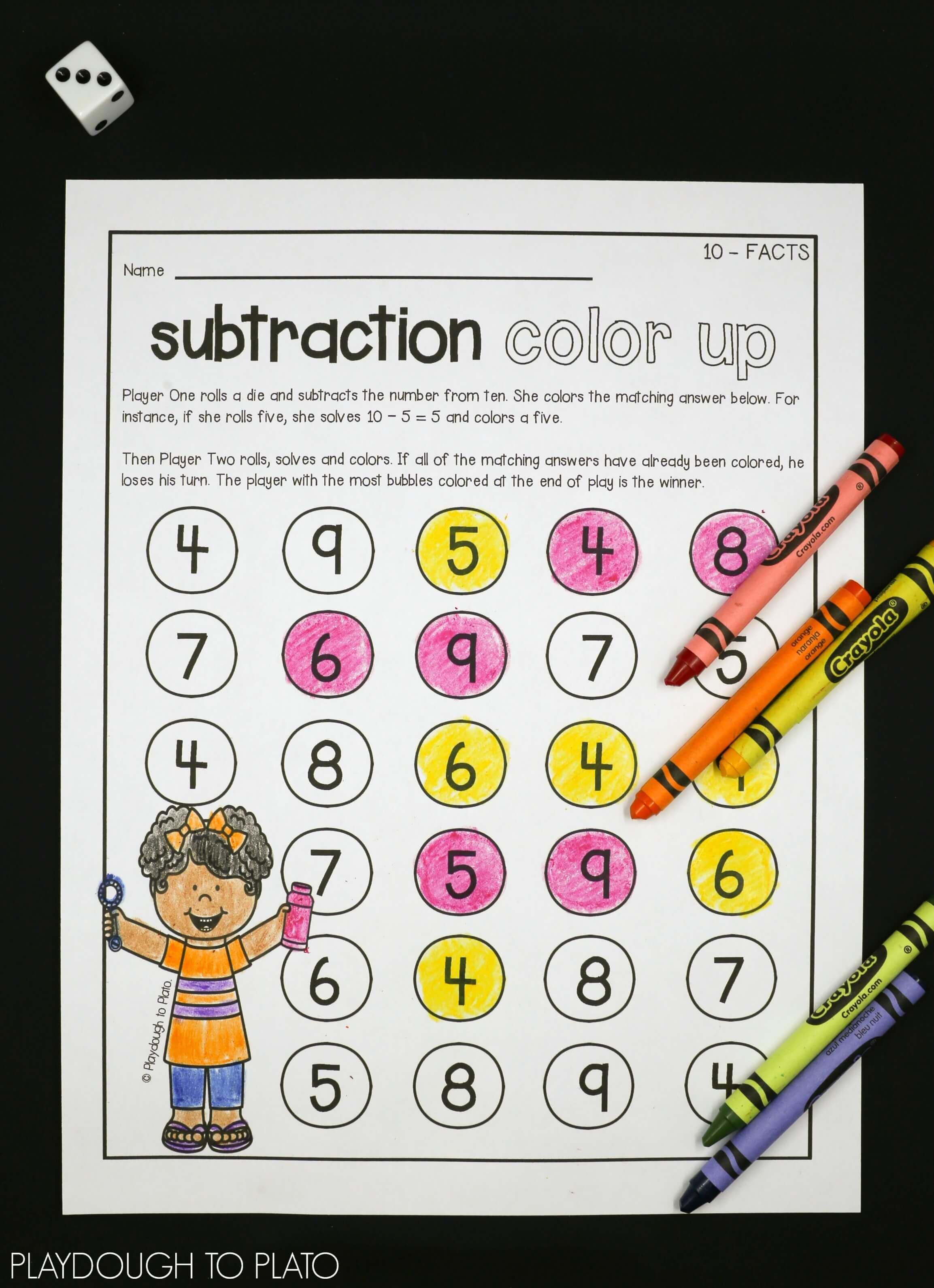 Subtraction Fact Fluency - Playdough To Plato