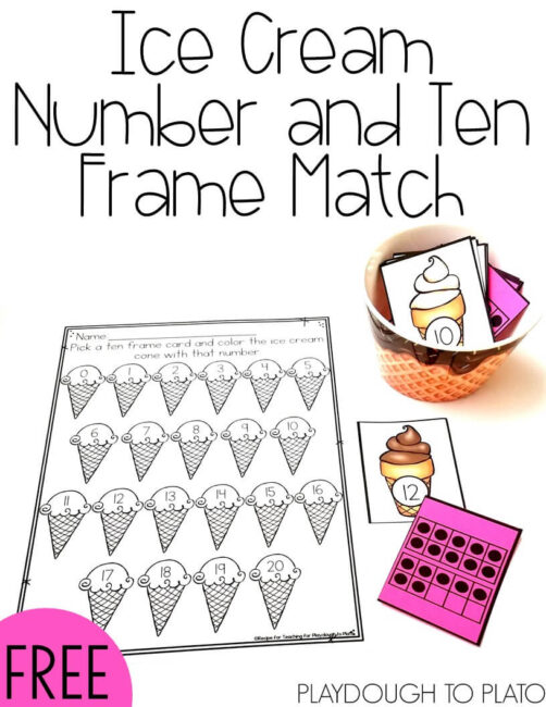 Ice Cream Number and Ten Frame Match by Playdough to Plato
