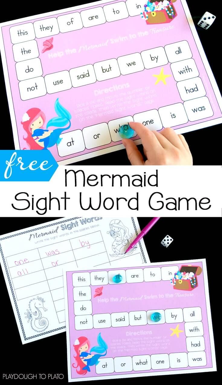 Free Mermaid Sight Word Game - Kindergarten Sight Word Games