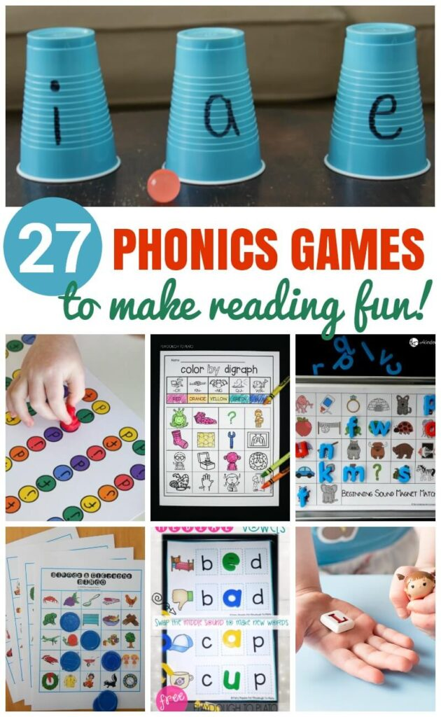 Kids will love these fun hands-on phonics games that teach letter sounds, digraphs, letter blends, vowel sounds, and more!