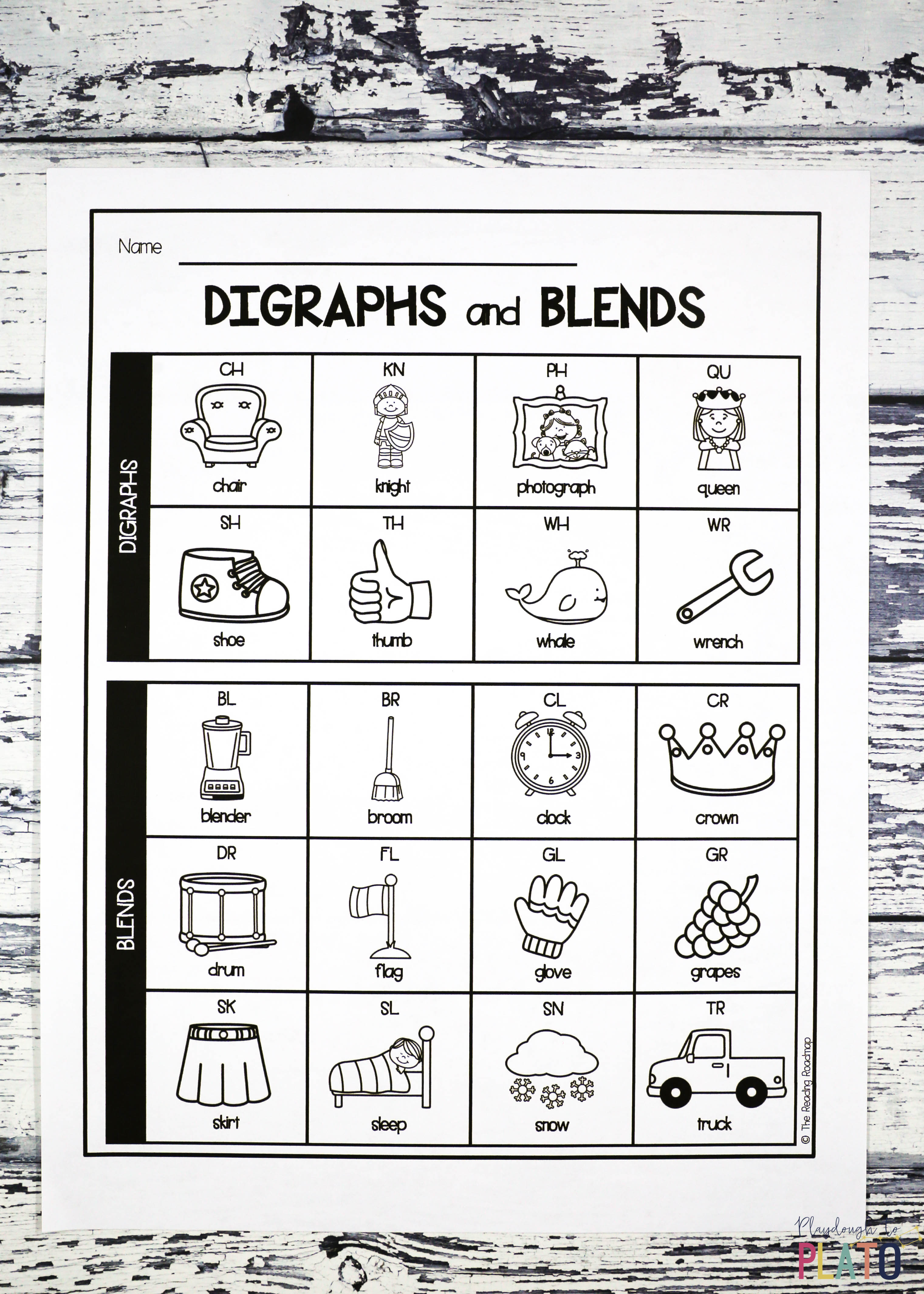Digraph and blend chart playdough to plato and one in ink saving black and white nvjuhfo Choice Image