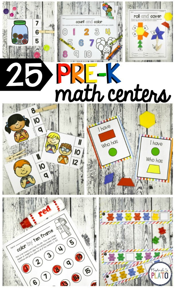 25 Pre-K Math Centers