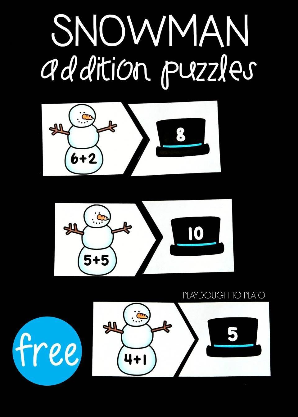 Snowman Addition Puzzles