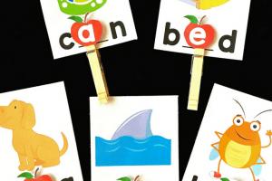 Apple Vowel Clip Cards