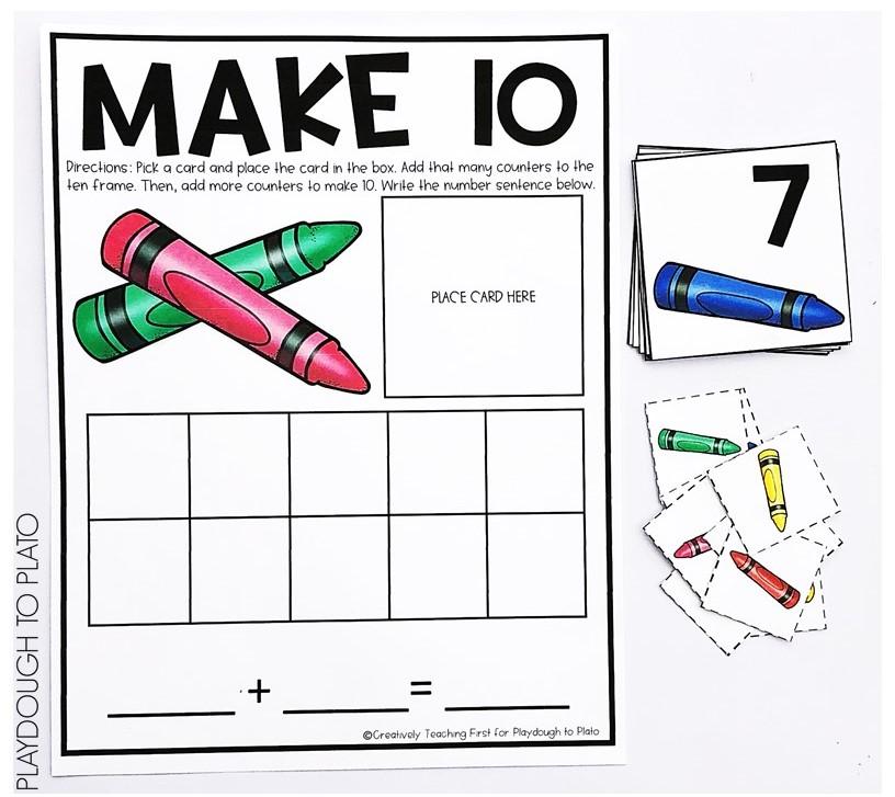 Crayon Ten Frames Playdough To Plato