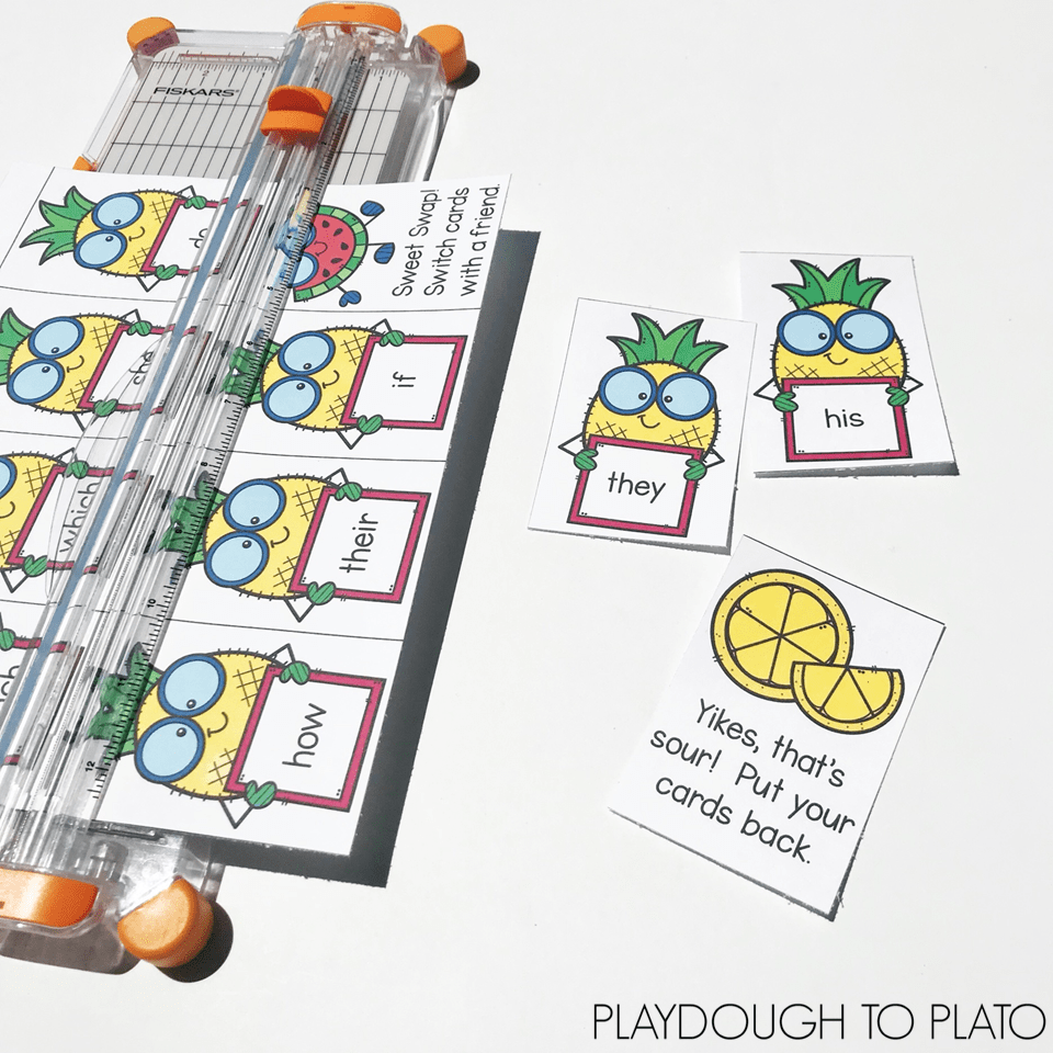 Sweet Pineapple Sight Word Game by Playdough to Plato is perfect summer word work centers!