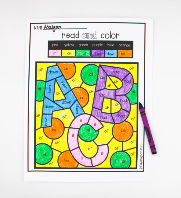 Color By Sight Word Playdough To Plato