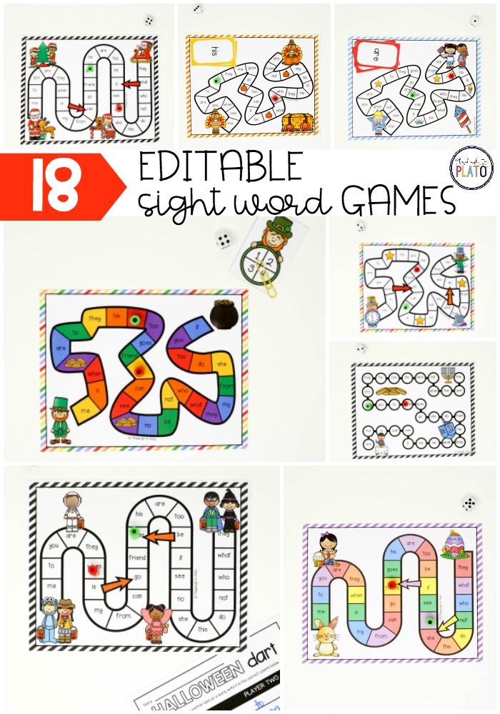 18 EDITABLE Holiday Sight Word Games