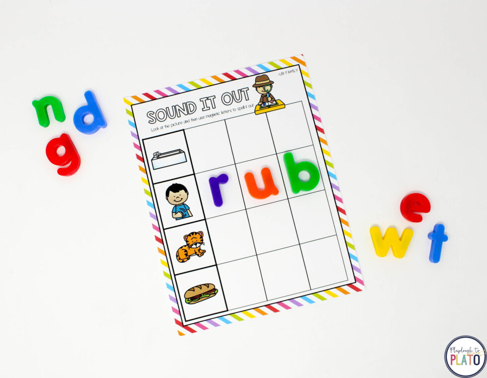 Practice spelling with magnetic letters!