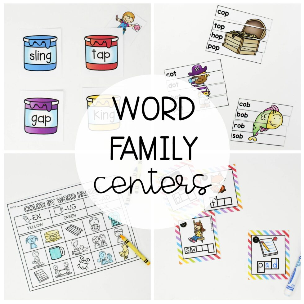 18 engaging word family centers focusing on the short vowel sounds.