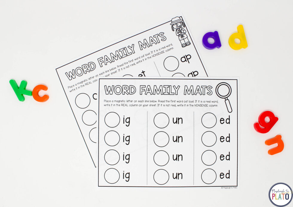 Build new words with magnetic letters.