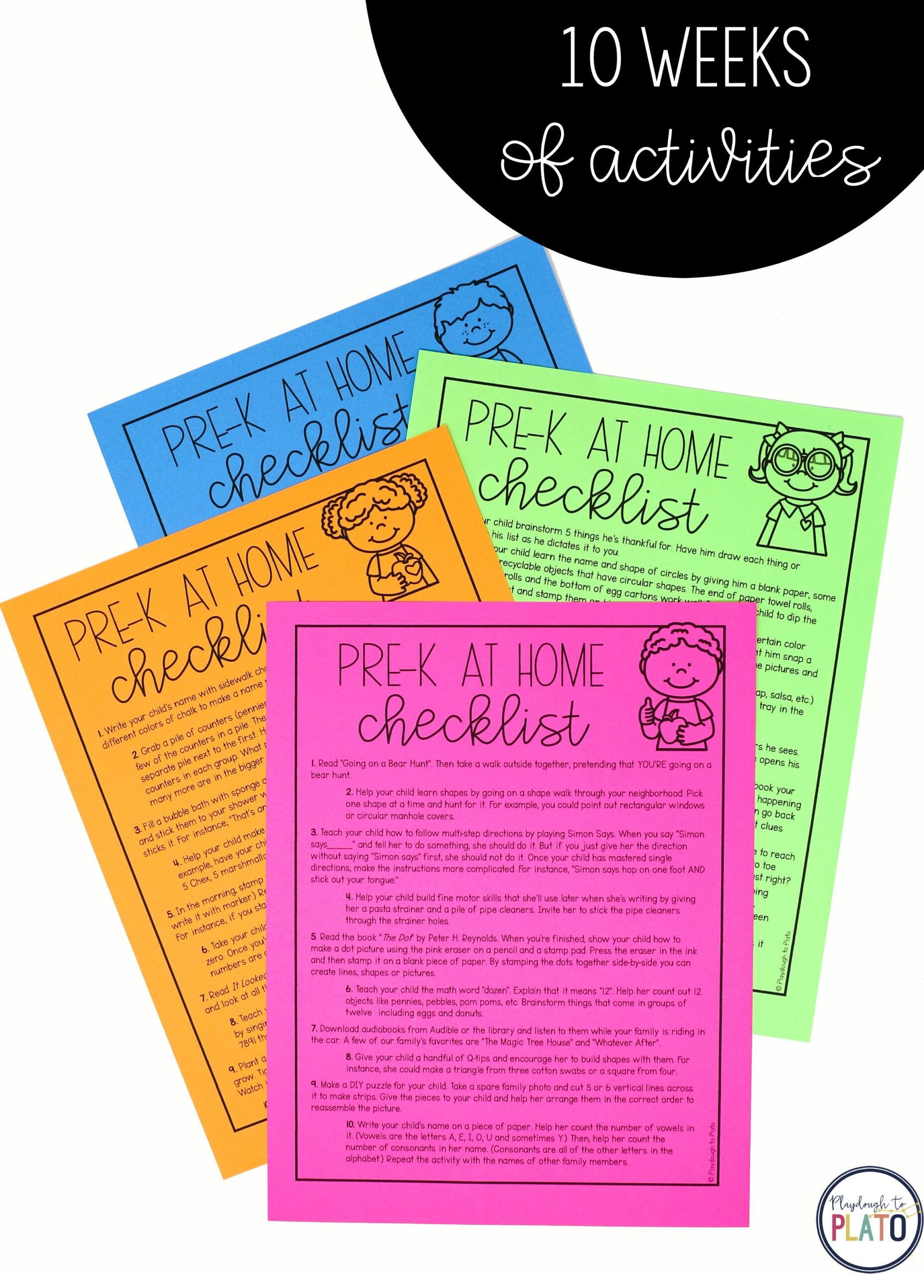 Pre-K Distance Learning Checklists