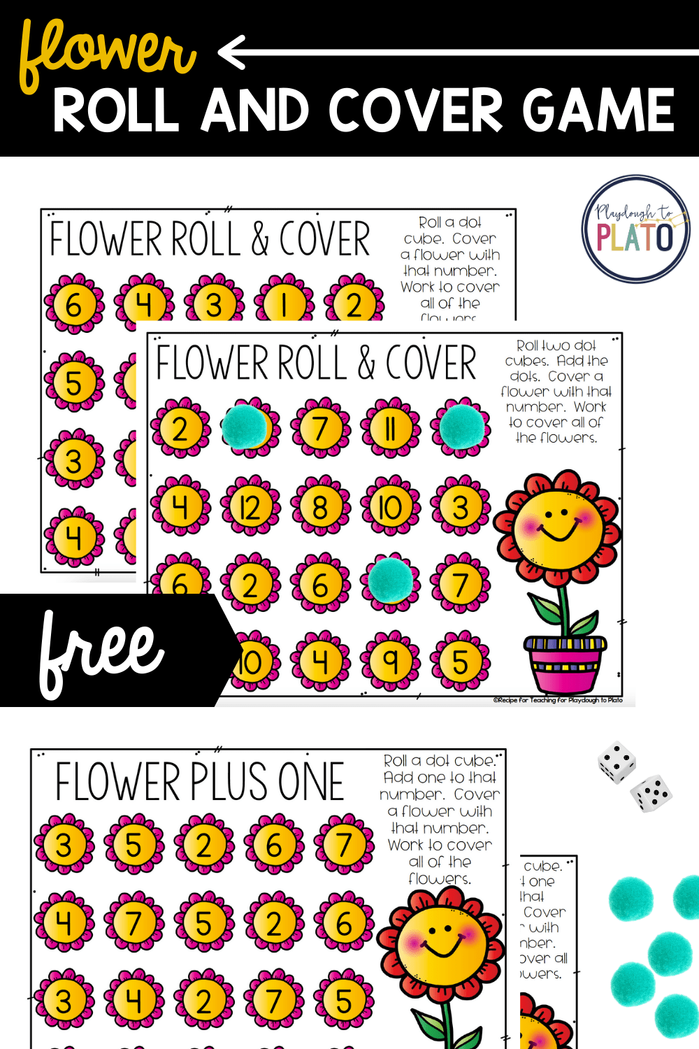 Flower Roll and Cover Math Game