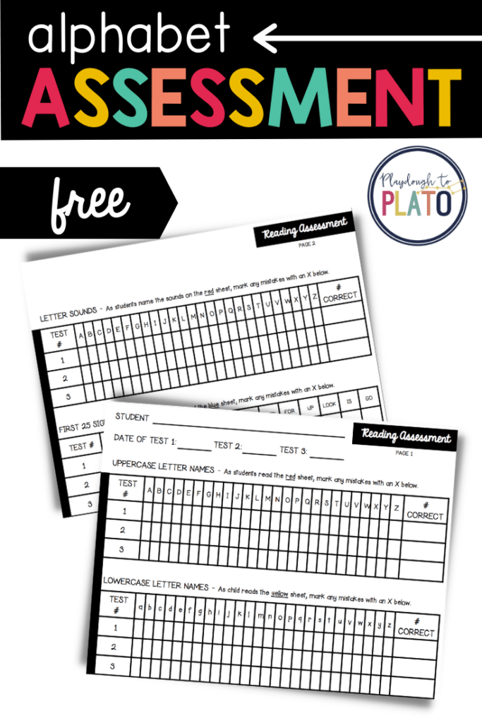 Free alphabet assessment for letter sounds and letter names