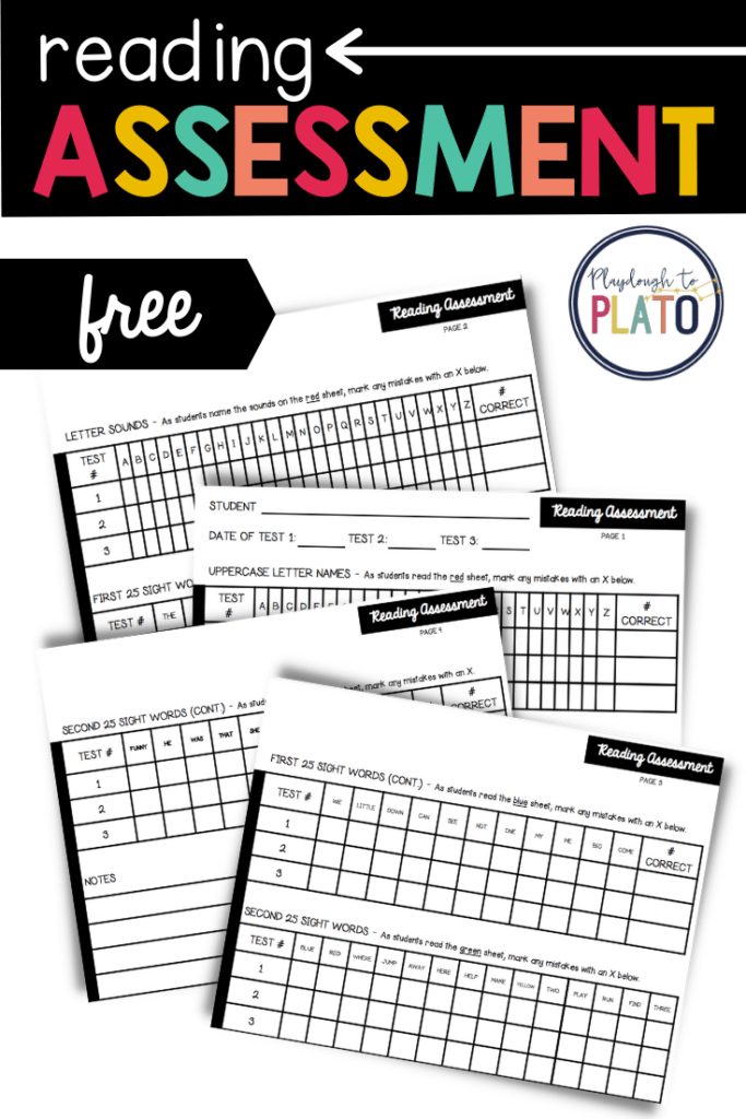 Free Reading assessment for alphabet letters and sight words