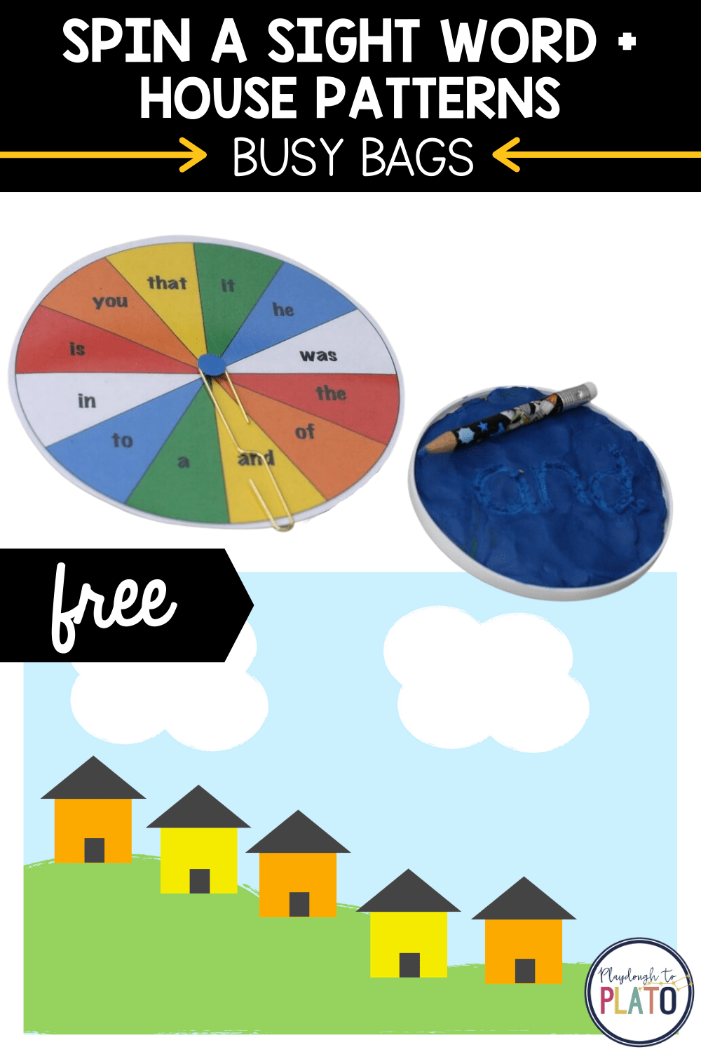 Spin a Sight Word and House Patterns Activites