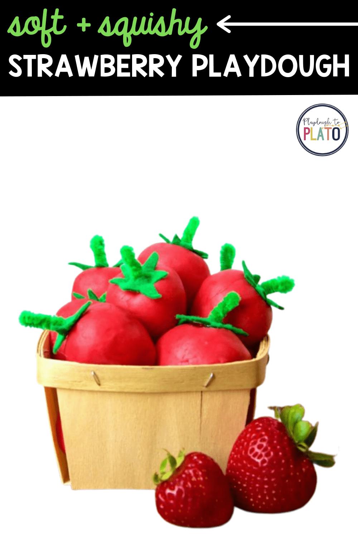 Soft and Squishy Strawberry Playdough
