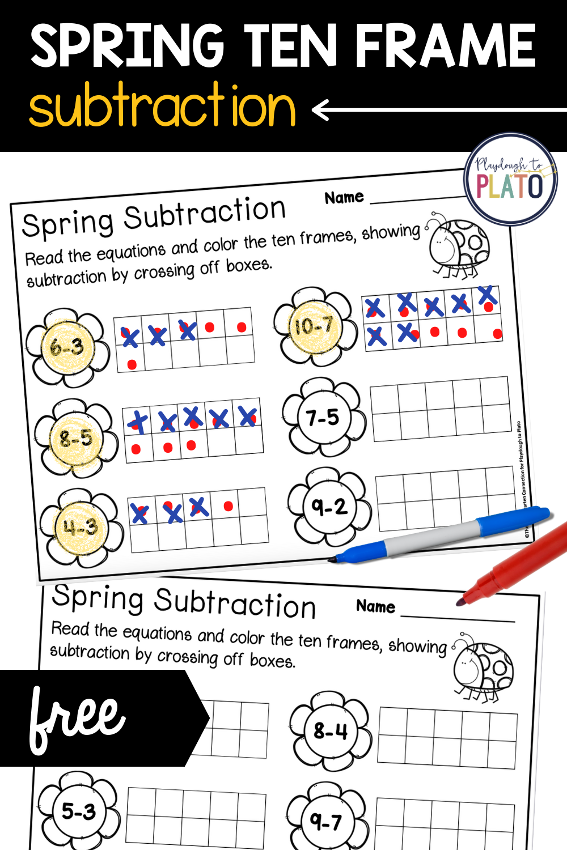 Spring Ten Frame Subtraction