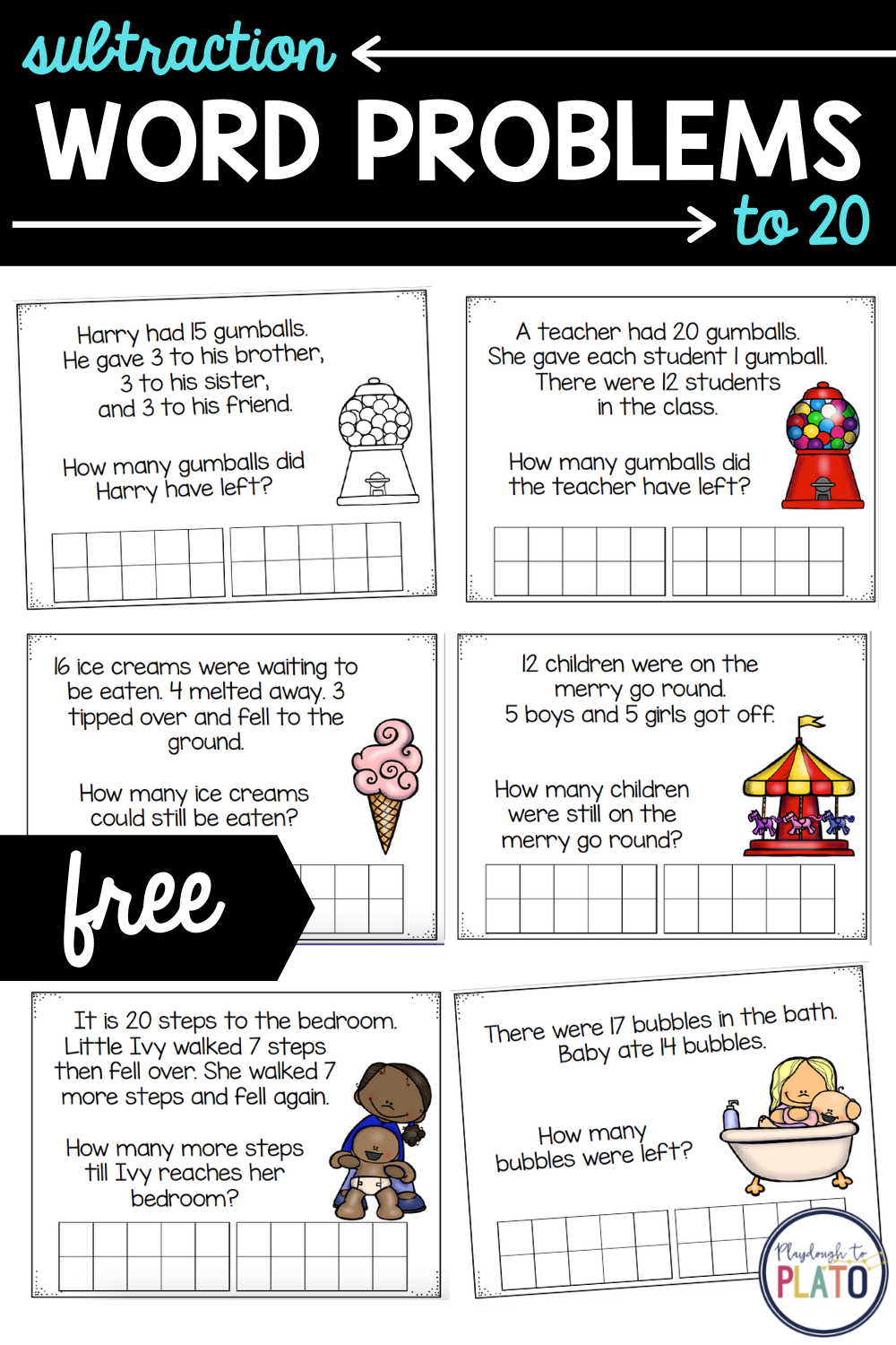 Subtraction Word Problems to 20